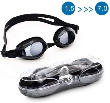 Swimming Goggles Professional Non-Leaking Anti-Fog UV Protection Triathlon with 3 Adjustable Nosepieces and Protection Case Fit for Adult Men Women Youth Kids Wave Adult Swim Goggles