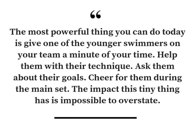 Peer mentoring for swimmers