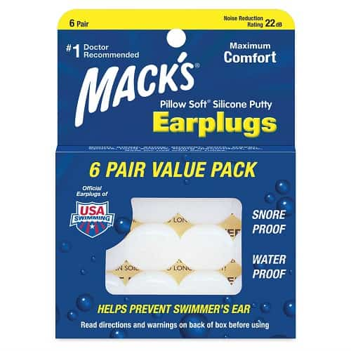 Mack's Pillow Soft Ear Plugs for swim bag