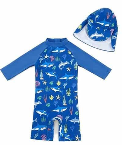 Best Baby Swim Gear -- Baby Boy Swimsuit and Sun Hat