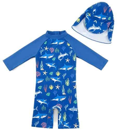 upandfast Baby Boy Swimsuit with Sun Hat
